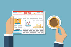 Businessman reading a newspaper. Drinking coffee. Business News. Media. Newspaper news, coffee cup. Vector illustration in flat design style Royalty Free Stock Photo