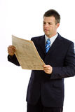 Businessman Reading Newspaper Isolated Stock Image