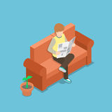 Businessman reading a newspaper on the sofa. VECTOR, EPS10 Royalty Free Stock Photo