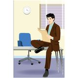 Businessman reading paper Royalty Free Stock Photography