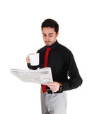 Businessman reading paper. Stock Photos