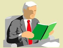 Businessman reading reports. Businessman sitting at a desk, reading reports Royalty Free Stock Photos