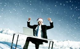 Businessman Ready for Christmas Cheerful Concept royalty free stock image