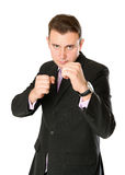 Businessman is ready for fight Stock Photos