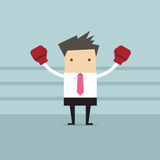 Businessman ready for fighting on his business with his boxing gloves. Vector illustration Royalty Free Stock Photo