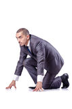 Businessman ready for race Stock Images