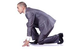 Businessman ready for race Royalty Free Stock Images
