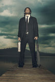 Businessman is ready for the storm coming Royalty Free Stock Images