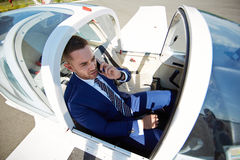 Businessman Ready for Take Off Royalty Free Stock Images