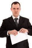 Businessman ready tear paper Royalty Free Stock Photos