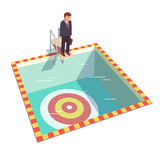 Businessman ready to dive in pool for a goal. Businessman ready to dive in a pool from springboard to achieve his goal. Flat style vector illustration clipart Stock Image