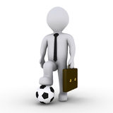 Businessman ready to play soccer. 3d businessman holding with his foot a soccer ball Stock Photo