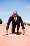 Businessman ready to run Stock Image