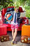 Businessman ready to trip Royalty Free Stock Photography