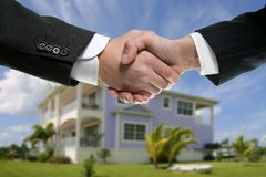 Businessman real state handshake partners Stock Photography