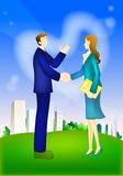 Businessman real state handshake partners Stock Photos