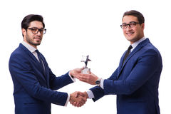 The businessman receiving award isolated on white Stock Photography