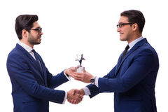 The businessman receiving award isolated on white Stock Images