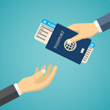 Businessman Receiving Boarding Pass and Passport. Royalty Free Stock Images