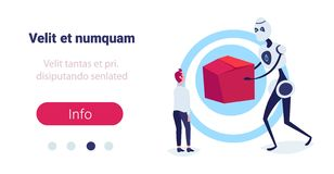 Businessman receiving cardboard box from modern robot courier online shopping artificial intelligence concept e-commerce. Full length flat horizontal copy space vector illustration