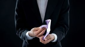 Businessman receiving euro, easy money, profitable business, bank credit, wealth. Stock photo royalty free stock image