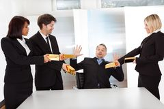 Businessman receiving gold bars Royalty Free Stock Images