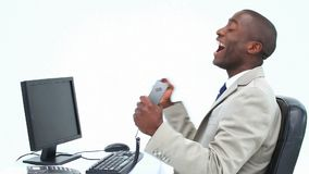 Businessman receiving a good news by phone Royalty Free Stock Photo