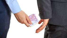 Businessman receiving money. Man in suit receiving money Royalty Free Stock Photography