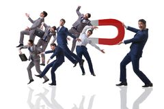 The businessman in recruitment concept with horseshoe magnet Stock Photos