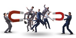 The businessman in recruitment concept with horseshoe magnet Stock Images