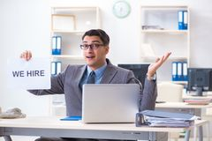 The businessman in recruitment concept in the office royalty free stock photography