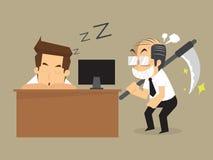 Businessman recumbent was sleeping boss   messenger of death Royalty Free Stock Image
