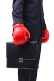 Businessman with red boxer gloves Royalty Free Stock Photo