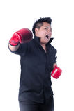 Businessman with red boxing glove. Ready to fight with problem, business concept Royalty Free Stock Photography