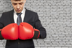 Businessman in red boxing gloves Royalty Free Stock Photo
