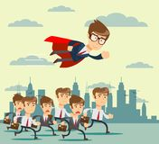 Businessman with red cape fly pass his competitor. Stock flat vector illustration vector illustration