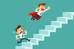 Businessman in red cape flying pass his competitor on stair Royalty Free Stock Photos