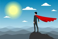 Businessman in red cape standing on the top of the moutain under the sun. Flat vector illustration design of the employee character congratulation stock illustration