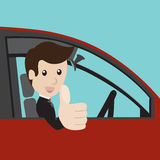 Businessman in a red car. Businessman in a red car and thumbs up. Vector illustration Stock Photos
