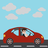 Businessman in a red car. Businessman in a red car and thumbs up. Vector illustration Royalty Free Stock Photo