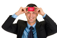 Businessman with a red card Stock Photos