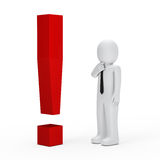 Businessman red exclamation mark. 3d business man for red exclamation mark Royalty Free Stock Images