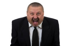 Businessman is red faced and very angry Stock Photo