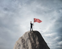 Businessman with red  flag Royalty Free Stock Images