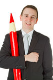 Businessman with red pencil Stock Photography