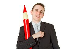 Businessman with red pencil Royalty Free Stock Photo