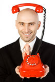 Businessman and Red Phone Stock Photo