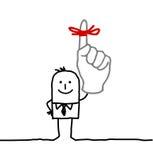 Businessman & red ribbon on finger Stock Photo
