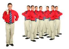 Businessman in red shirt and crowd collage. On white Royalty Free Stock Photography