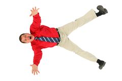 Businessman in  red shirt  falls Stock Images
